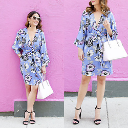 Jenn Lake - Yumi Kim Blue Kyoto Dream Kimono Dress, Kate Spade Cedar Street Maise Satchel, Kate Spade White Raelyn Sunglasses, Kate Spade Lovely Lillies Tassel Earrings, Steve Madden Black Carrson Sandals - Blue Floral Kimono Dress