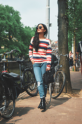 Carissa Alvarado - We Are Labels Striped Sweater, Pacsun Boyfriend Jeans, Celine Leather Purse - A Day In Amsterdam