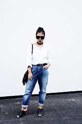 Maë RZF - Sheinside Sunglasses, H&M White Shirt, H&M Mom Jeans, Pimkie Bag, Primark Mules - BACK TO BUSINESS