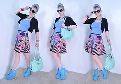 Suzi West - Vision Works Sunglasses, Bead Here Now Pop Art Earrings, Holly Gordon's Pro Wardrobe Costume Jewelry Necklace, Evolution Crop Top, Mossimo Bolero, Jealous Tomato Graphic A Line Skirt, Rosetti Purse, Bumper Lita Boots - 26 May 2016