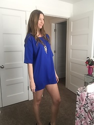 Cindy Batchelor - Yiyou Blue T Shirt Dress - Cute Blue T shirt Dress