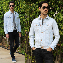 Michael - Ray Ban Aviator, Asos Denim Jacket, H&M Skinny Jean, Supra Skate Shoe, Facesapparel Ultimate Collection T Shirt - Sky Denim
