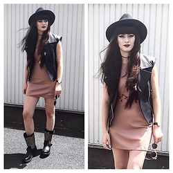 Louisa Violetta - Rok And Rebelle Dress, Ash Footwear Boots, Asos Fedora Hat - Leather & Studs