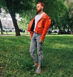 Andreev Igor - Levi's® Trousers, Adidas Shoes, Asos Jacket - Red on red