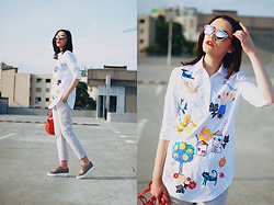 Andreea Birsan - Zaful Embroidered Shirt, Zara Grey Trousers, Nude Platform Shoes, Otter Apricot Crossbody Bag, Christian Dior So Real Sunglasses - How an embroidered shirt make you stand out