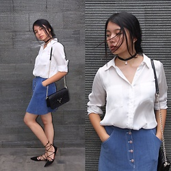 Grace Maron Marpaung - Guess Black Sling Bag, Forever 21 White Shirt, Zara Lace Up Pointed Flats - Basics Classics