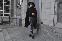 Asmodeus Moonlight Hel - Killstar Witch Brim Hat, Topman Black Turtleneck, Asos Leather Belt, Lip Service Moon Pants, Underground Leather Creepers, Asos   Reclaimed Vintage Black Trench Coat - The Ascension of the Decaying Moon