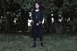 Asmodeus Moonlight Hel - Widow Witchy Sweater, Zara Men's Skirt, Dr. Martens Black Combat Boots In Leather - The Rise and the Fall of the Hybrid Worm