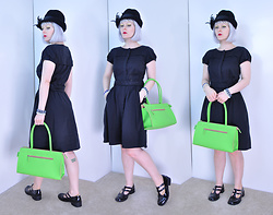 Suzi West - Glenover 1960s Vintage Hat, Ann Taylor Little Black Dress, Thrift Shop Scarf, Holly Gordon's Pro Wardrobe Bracelets, Alan Stuart Purse, Stevie's Little Girl Dress Shoes - 01 June 2016