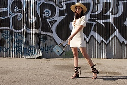 ASH - Tobi Lace Up Mini Dresss, Asos Lace Up Sandals, Straw Fedora - Lace Up Dress