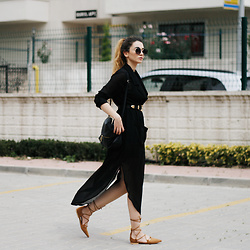 Melike Gül - Cndirect Dress, Romwe Lace Up Flats, Zerouv Sunnies - Black Mood