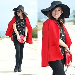 ROXY S. - Escada Cherry Bag, Red Blazer, H&M Floppy Hat, Forever 21 Ankle Boots - Pop of Red