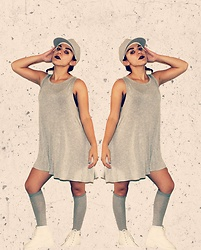 SV - Dollar Store Grey Cap, Target Gray Knee High Socks, Asos White Radiohead Lace Up Boots, H&M Gray Dress - Formation