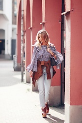 Noor G. - Chicwish Off Shoulder Flare Sleeve Top, Levi's® 501 Jeans, Goosecraft Suede Fringe Jacket, Asos Platform Sandals, Louis Vuitton Bag - RUFFLES AND FRINGES