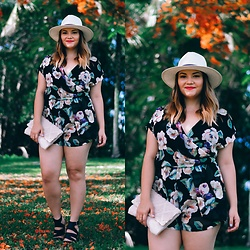 Alice Hernandez - Kj Couture Floral Romper, Ann Taylor Panama Hat, Merona Canvas Clutch, Marc Fisher Leather Sandals - Beautiful Blooms