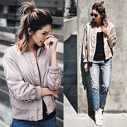 Amber - Nakd Lacing Bomber Jacket, Lucky Brand Boyfriend Jeans, Zara White Sneakers - Lace up bomber