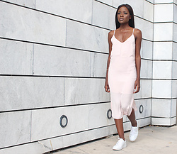 Rachel O. - Bershka Satin Slip Dress, Axel Arigato Croc Embossed Sneakers, Shashi Nyc Delicate, Thin Rose Gold Necklace - How to Casually Wear a Slinky Slip Dress