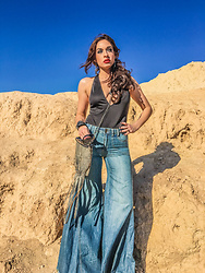 Arizona Danes - The Odd Portrait Handcrafted Leather Fringe Bag, The Odd Portrait Mermaid Skeleton Earrings - Free People Flare Bell Bottom Boho Rocker