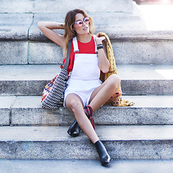 Lauren G. - Blank Nyc White Shortalls, Steve Madden Mixed Print Shoulder Bag, Marc Fisher Black Booties, Free People Embroidered Peasant Jacket, Design Lab Ruffled Crop Top, Quay Mirrored Sunglasses - Summer Shortalls