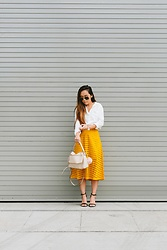 T - H&M Skirt, Kate Spade Purse, Target Shoes - Yellow Midi Skirt