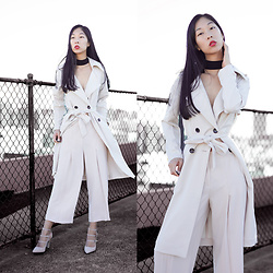 Cissy Zhang - Forcast Beige Trench Coat, Forcast Nude Culottes - Winter whites
