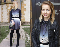 "Julia Loewenherz - Missguided Demi Dip Dye Contrast Leather Skater Dress, Missguided Semi Precious Black Stone Detail Metal Shoulder Bag - ✮☾...and the stars never rise,but i feel the bright eyes.""✮☽"