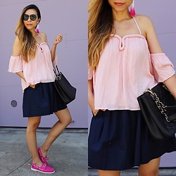 Sasa Zoe - Only $63; 4 Different Colors Top, Earrings, 4 Different Colors; Super Comfy Shoes, Skirt, On Sale Bag, Sunglasses - SHADES OF PINK