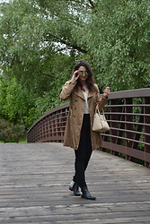 Leandra G - Cynthia Rowley Trench Coat, American Apparel High Waisted Pants, Sam Edelman Boots, Guess Purse - Rainy Day