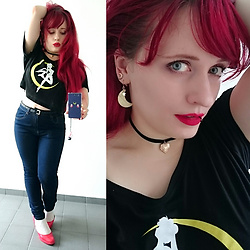 Asu Rocks - Emp Sailor Moon Top, New Yorker High Waisted Jeans - Fighting evil by moonlight, being an artist by daylight