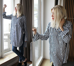 Stryle TZ -  - STRIPED OBERSIZED BLOUSE