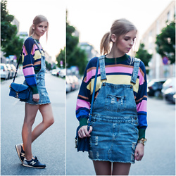 Ruth Pie - H&M Sweater, Sheinside Pinafore, Rebecca Minkoff Bag, New Balance Sneakers - Dungaree Dress