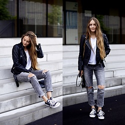 Anna R -  - Leather Jacket & Destroyed Denim