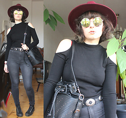 Maze - Asos Concho Belt, Asos Studded Bag, Asos Red Hat, Camden Market Sunnies, Converse Platform Sneakers - Once u stop looking for what u want, u find what u need