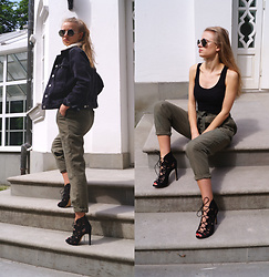 Aneta Kramarska - Zara Trousers, Zara High Heels, Topshop Jacket, Bershka Glasses, Gatta Bodysuit - Army Blonde Chic