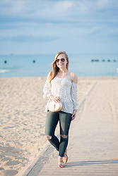 Ashley Hutchinson - Zara Polka Dot Strapless Top, J Brand Ripped Skinny Jeans, Stuart Weitzman Cork Sandals, Chloe Gold Crossbody Bag, Ray Ban Aviators - Summer Beach Vibes