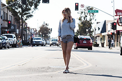 Iam Chouquette - Saint Laurent Bag, Free People Denim Cut Off Shorts, Nike Sliders, Grey Knitted Sweater - Balboa Island  - Newport