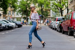 Miriam Mache - Bog Jeans, Just Fab Shoes - Stripe off-shoulder
