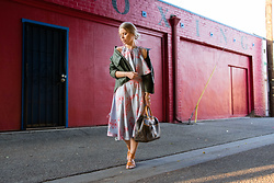 Olga Pancenko - Louis Vuitton Deauville Handbag, Ancient Greek Sandals, Military Jacket - LOOK N° 12 FEMININE AND EDGY STYLE WITH CYNTHIA ROWLEY