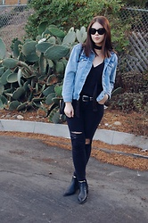 Taylor Smith - Topshop Jean Jacket, Luna B Silk Cami, Western Belt, Ripped Jeans, Modern Vice Boots - Denim and Silk