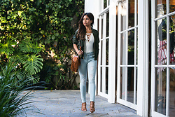 Jessi Malay - Express Olive Bomber Jacket, Express Lace Up Cami Thong Bodysuit, Express Faded Denim Mid Rise Jean Leggings - Bomber Style 1