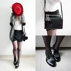 Thais Chung - Asos Feather Red Hat, Asos Heart Cardigan, White Crystals Shirt, Forever 21 Bag, Zara Asymmetric Skort, Asos Polkadots Tights, Melissa J.Maskrey For Swarovski Shoes - RED HAT