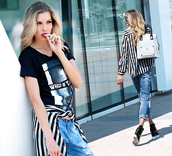 Dora D. - Black And White Striped Blouse, Black And White Backpack, Distressed Boyfriend Jeans - You can be chicest thing in a T-shirt & jeans it's up to you