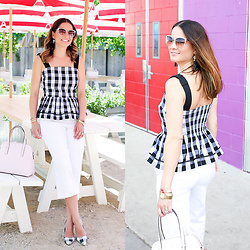 Jenn Lake - Kate Spade Gingham Peplum Tank, Kate Spade White Denim Culottes, Kate Spade Genice Sunglasses, Kate Spade Lovely Lillies Tassel Earrings, Kate Spade Cedar Street Maise Bag, Kate Spade Check Licorice Heels, Kate Spade Out Of Office Parrot Bangle, Kate Spade Washington Square Bracelet Watch - Gingham Peplum Top for Summer
