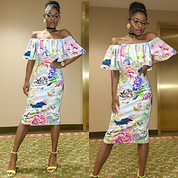 Gala F - Limited Addition Collection Neon Heels, Asos Off The Shoulder Dress - .:: La Salsa ::.