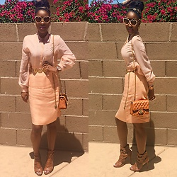Gala F - Justfab Cognac Sandals, Vender Purchase Cognac Chanel Inspired Purse, Thrifted From Nonprofit Vintage Peach Skirt, From My Grandmother's Closet Vintage Peach Linen Top, Asos Peach Heart Sunglasses - .:: Peachy ::.