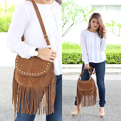 Sarah Mai - Zara White Blouse, Guess Skinny Jeans, Fringe Bag, Secolo Hairdressing Rose Gold Hair - Classic White Blouse & Denim