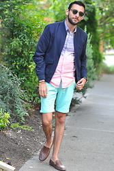 Hector Diaz - Topman Navy Blue Bomber Jacket, Topman Purple To Pink Watercolor Shirt (Similar), Topman Mint Shorts, 1901 Leather Lugano Loafers, Topman Shades - Light Colors and a Bomber Jacket