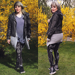 INNER RIOT † - Killstar Bast Leggings, Vans Sk8hi, Bdg Knit Cardi, H&M Shirt, Trash Punk Leather Jacket - Meow/Myth