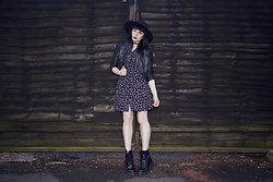 Amy Souter - Vintage Floral Dress, Dr. Martens Patent Leather Dr Marten Boots, H&M Faux Leather Jacket, Select Black Floppy Hat - I'm Just A Girl In The World...
