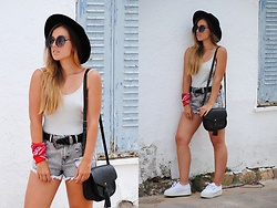 Claudia Villanueva - Zerouv Sunglasses, H&M Hat, Zara Bodysuit, Asos Belt, Pull & Bear Shorts, Primark Bag, Superga Sneakers - Summer Festival Accessories